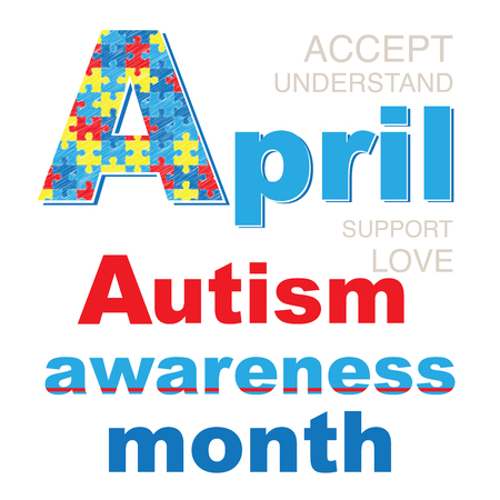 Banner April - Autism awareness month. International autism symbols and colors. Decorative letter A.  イラスト・ベクター素材