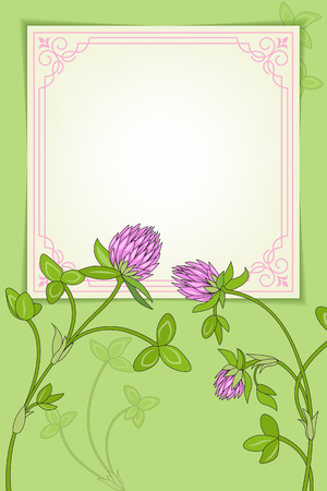 Card with pink ornate square frame. Clipping mask applied. Stock Illustratie