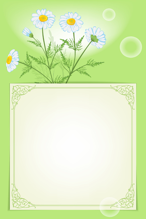 Card template with pink oriental square frame. Stock Illustratie