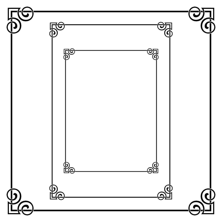 Set of black ornate frames. Square, Letter, A3, A4 page pages.