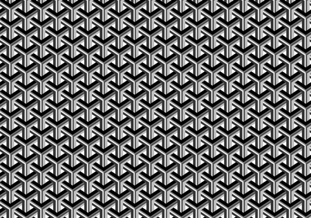 Seamless abstract geometric pattern. Shades of gray. Optical illusion. Transparent background.