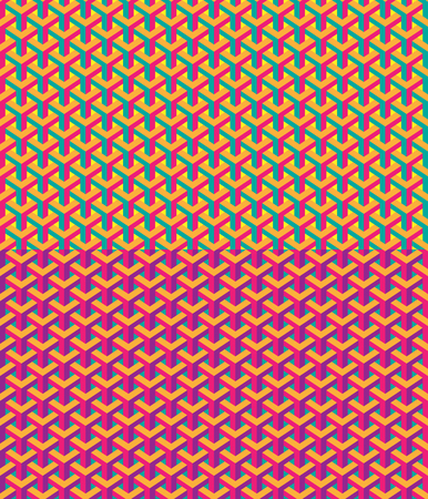 Seamless abstract geometric patterns, saturated colors. Optical illusion.