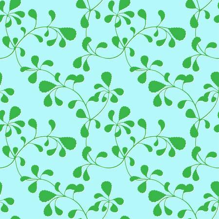 Seamless pattern, interlacing thin branches with green leaves.