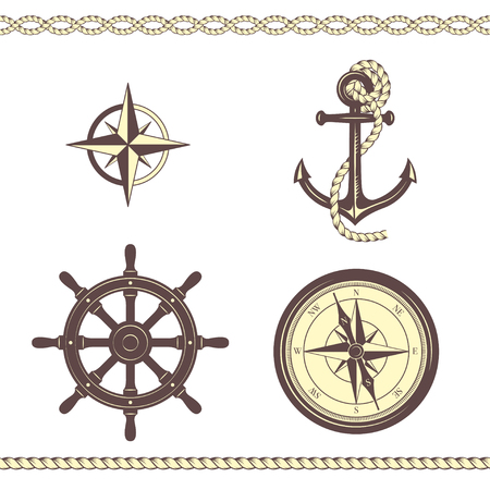 Set of nautical symbols. Anchor, ship steering wheel, rose of wind, ship steering wheel, borders. Yellow and brown colors. Stock Illustratie