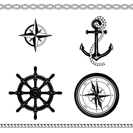 Set of nautical symbols. Anchor, ship steering wheel, rose of wind, ship steering wheel, borders. Black and white colors.