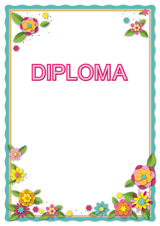 Template for card, diploma, certificate. Decorative border and flowers, paper cut style. Lettering Diploma. Gradients and shadows applied. A4, A3 page proportions.