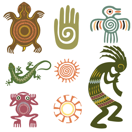 Set of Native Americans ethnic symbols. Aztec symbols. Иллюстрация