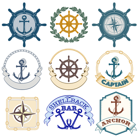 Set of nautical labels. Lettering Anchor, Shellback Bar, Captain. Stock Illustratie