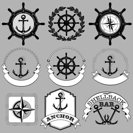 Set of black and white nautical labels. Lettering Anchor, Shellback Bar. Black and white colors.