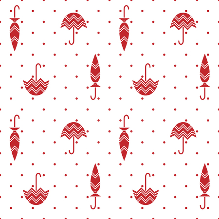 Seamless pattern with red umbrellas and polka dots. Transparent background. Swatch is included in file.  イラスト・ベクター素材