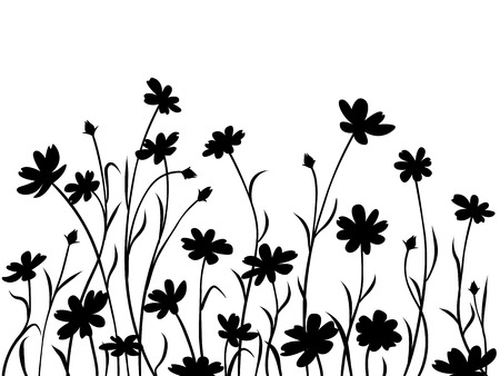 Abstract meadow flowers, border. Black silhouettes of flowers.  イラスト・ベクター素材