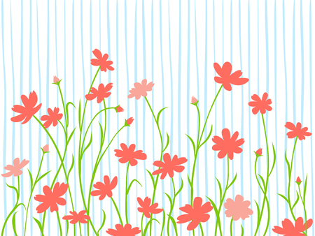 Abstract border, wild summer or spring card, illustration.