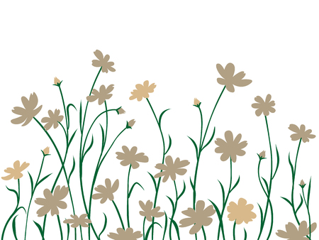 Bordure abstraite, carte d'été ou de printemps sauvage, illustration. Vecteurs