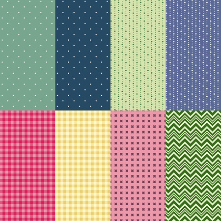 Set of colorful seamless patterns. Herringbone pattern, polka dot, checkered pattern, rhombus, abstract floral pattern. Swatches included. Stock Illustratie