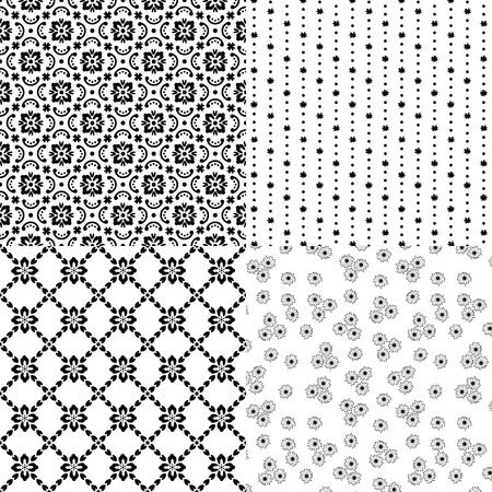 Set of black seamless patterns. Floral elements. Transparent background. Swatches included.