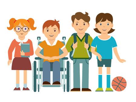 Feliz grupo de niños con un niño en silla de ruedas. Personajes de caricatura. Concepto de integración y educación inclusiva.