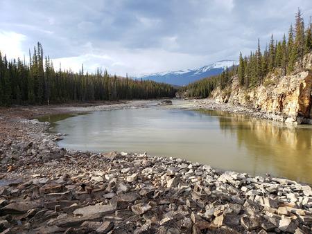 Alberta, Canada. Jasper National Park, May, 2019. Athabasca River and Fall.