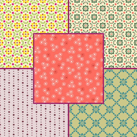 Set of floral seamless patterns. Various colors. Swatches included.