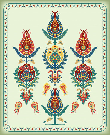 Illustration with various whimsical flowers. Suzani tribal style.