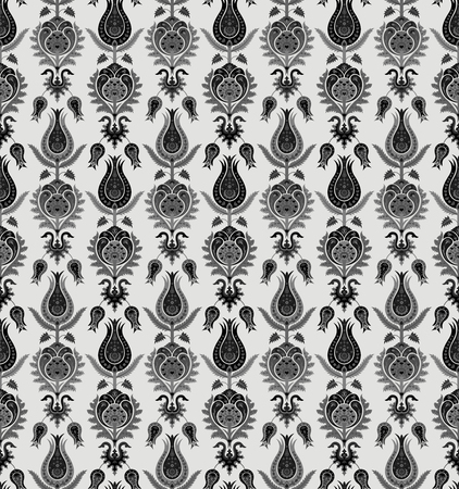 Seamless pattern with various whimsical flowers. Suzani tribal style. Shades of gray. Swatch is included in file.