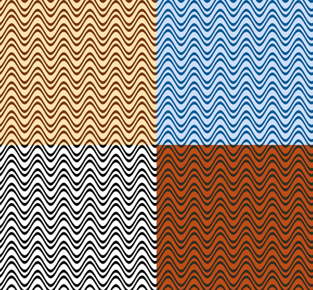 Set of color seamless patterns. Wavy lines. Chocolate, sea, black and brick colors. Swatches included. Stock Illustratie