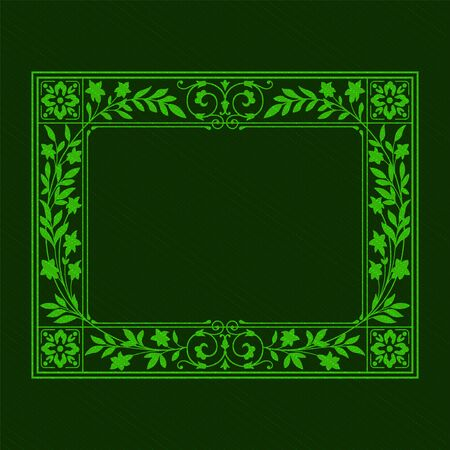 Rectangular ornate framework on dark green background. Floral elements. Saturated colors, transparency effects applied. Foto de archivo - 127679666