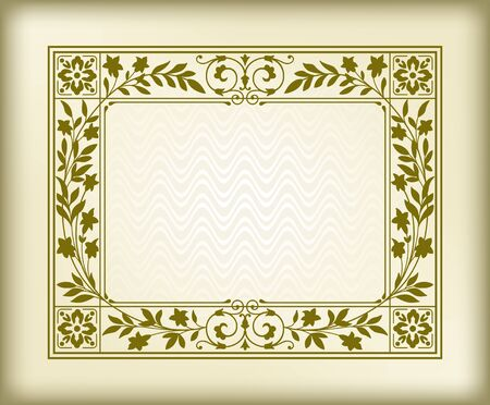 Rectangular ornate framework on background. Floral elements, decorated corners. Swatch is included. Foto de archivo - 127679669