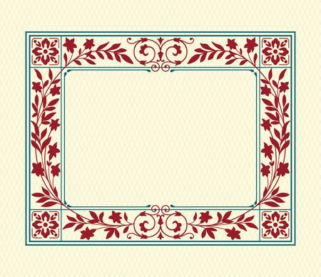 Rectangular ornate framework on background. Floral elements, decorated corners. Swatch is included.
