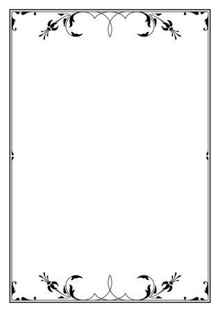 Rectangular black ornate framework. Floral elements. A4 page proportions. Illustration
