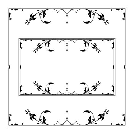 Two black ornate frameworks, square and rectangular. Floral and foliage elements.