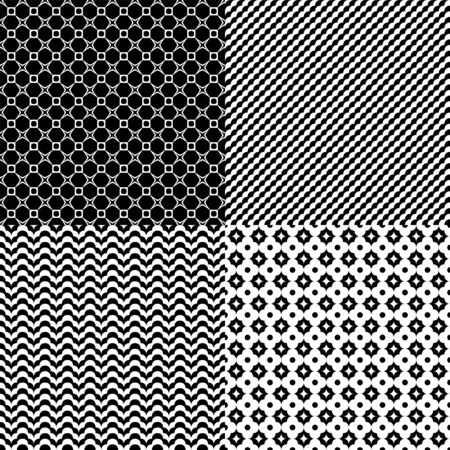 Set of seamless abstract geometric patterns. Black and white colors.