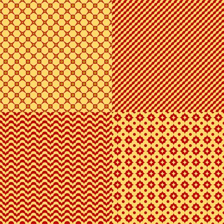 Set of seamless abstract geometric patterns. Chinese red and golden colors.  イラスト・ベクター素材