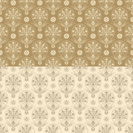 Seamless patterns with various whimsical flowers. Two-color, beige. Suzani tribal style. Swatches are included in file. Ilustrace