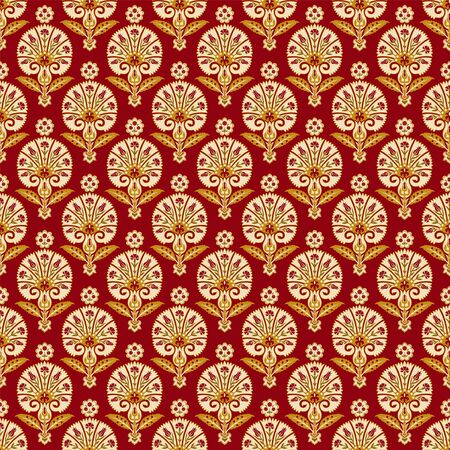Seamless pattern with various whimsical flowers. Suzani tribal style. Swatch is included in file. Ilustrace