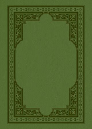Rectangular ornate framework on a green piece of leather. Decorative elements. Retro style. Book cover or icon case design.