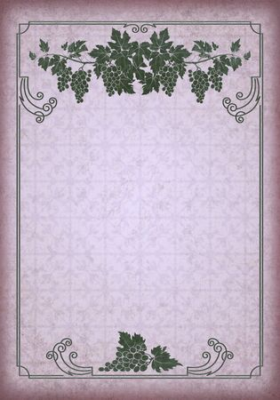 Rectangular ornate framework on an aged grunge background. Bunches of grape for frame decoration.
