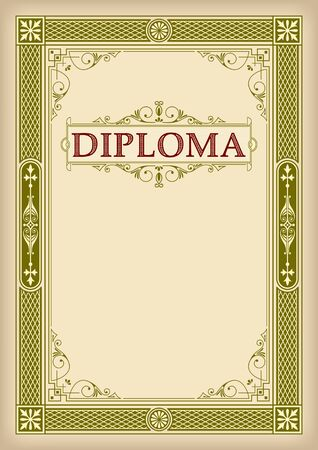 Rectangular ornate framework. Classic golden retro spectrum. Faded paper effect. Decorative banner and lettering Diploma. A4 page proportions.