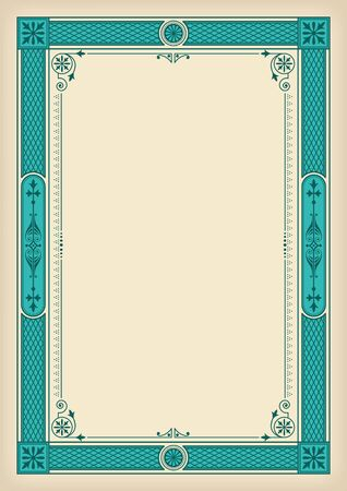 Rectangular ornate framework. Turquoise and faded paper colors. Decorative elements. A4 page proportions.