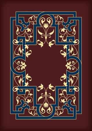 Rectangular ornate framework. Dark red, blue and golden colors. Floral elements. Book cover or icon case design. A4 page proportions. ??