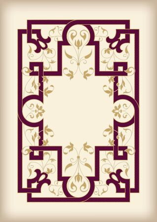 Rectangular ornate framework. Dark cherry and golden colors on faded paper sheet. Lattice pattern and floral elements. Book cover or icon case design. A4 page proportions. ??