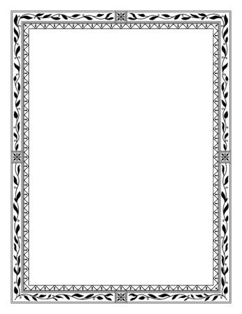 Rectangular black ornate framework, letter page size.