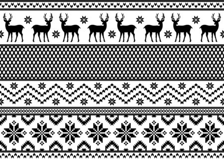 Seamless pattern with deer and snowflakes, knitting style. New year and Christmas texture. Black and white colors. Ilustração