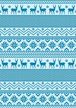 Seamless pattern with blue colors. New year and Christmas texture. Ilustração