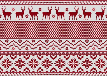 Seamless pattern with deer and snowflakes, knitting style. New year and Christmas texture.