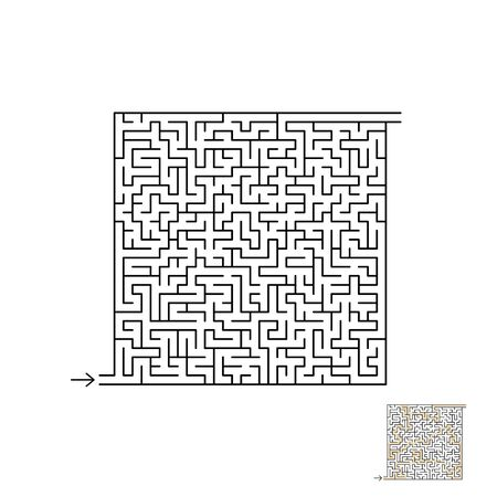 Maze game with solution. For kids and adults. Ilustração