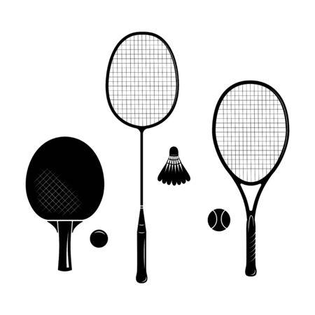 Set of tennis racquets. Ping pong, badminton, table tennis, big tennis racquets and balls. Black sketches. Иллюстрация