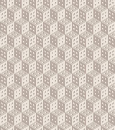 Seamless geometric pattern formed of beige cubes. 3D imitation. Swatch is included in vector file.