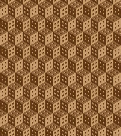 Seamless geometric pattern formed of brown cubes. 3D imitation. Swatch is included in vector file. Ilustração