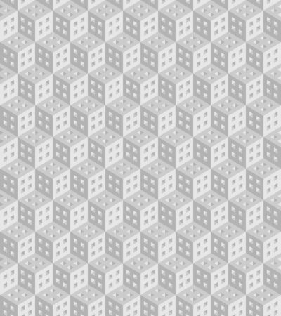 Seamless geometric pattern formed of gray cubes. 3D imitation. Swatch is included in vector file.
