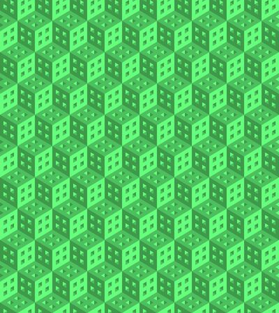 Seamless geometric pattern formed of green cubes. 3D imitation. Swatch is included in vector file. Ilustração